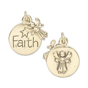drop, antique gold-plated pewter (tin-based alloy), 11.5x9mm double-sided angel and 16.5mm double-sided flat round with faith/raised angel design. sold individually.