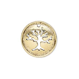 drop, antique gold-plated pewter (tin-based alloy), 20.5mm single-sided flat round with cutout tree of life and textured back. sold individually.