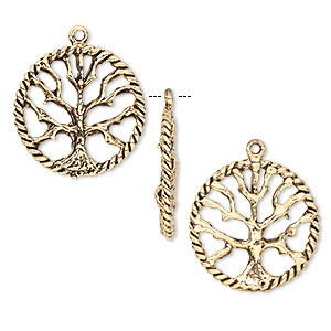 drop, antique gold-plated pewter (tin-based alloy), 22mm tree of life round. sold per pkg of 2.