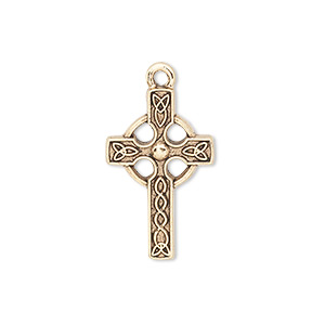 drop, antique gold-plated pewter (tin-based alloy), 24x15mm single-sided celtic cross. sold per pkg of 2.