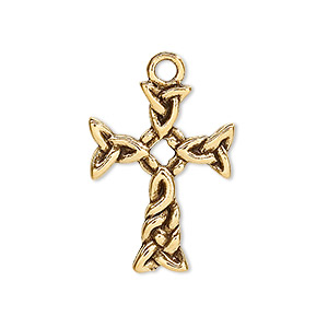 drop, antique gold-plated pewter (tin-based alloy), 25x19mm cross. sold per pkg of 2.