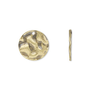 drop, antique gold-plated steel, 16mm textured flat round. sold per pkg of 50.