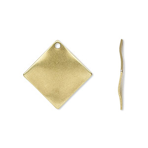 drop, antique gold-plated steel, 20x20mm wavy diamond. sold per pkg of 100.
