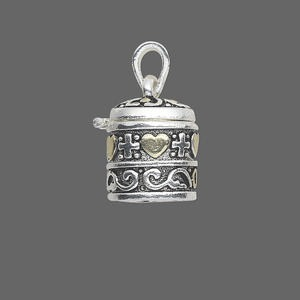 drop, antique silver- and gold-finished pewter (zinc-based alloy), 21x18mm cylinder prayer box with assorted design and magnetic closure. sold individually.