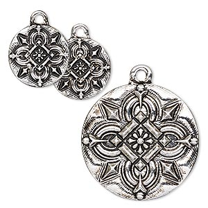 drop, antique silver-finished pewter (zinc-based alloy), 15mm and 25mm flat round with celtic design. sold per 3-piece set.