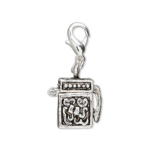 drop, antique silver-finished pewter (zinc-based alloy), 15x10mm cube prayer box with swirl design and magnetic safety latch with lobster claw clasp. sold individually.