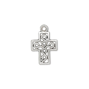drop, antique silver-finished pewter (zinc-based alloy), 16x13mm block cross. sold per pkg of 10.