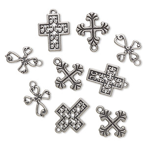 drop, antique silver-finished pewter (zinc-based alloy), 17mm fancy cross / 17x14mm / 20x16mm fancy cross with cutout design. sold per pkg of 9.