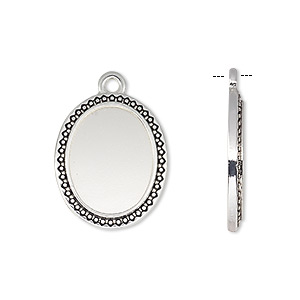 drop, antique silver-finished pewter (zinc-based alloy), 21x17mm oval with beaded and triangle edge with 16x12mm oval setting. sold per pkg of 6.