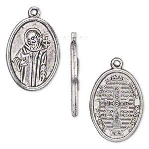 drop, antique silver-finished pewter (zinc-based alloy), 23x16mm two-sided oval with saint benedict. sold per pkg of 10.