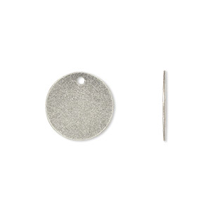 drop, antique silver-plated brass, 15mm flat round. sold per pkg of 100.