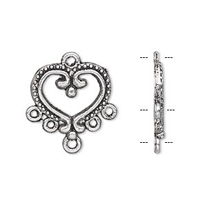 drop, antique silver-plated pewter (zinc-based alloy), 17x15mm single-sided heart with 5 loops. sold per pkg of 10.