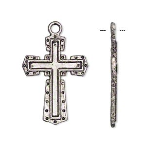 drop, antique silver-plated pewter (zinc-based alloy), 27x20mm single-sided cross. sold per pkg of 10.