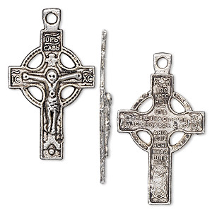 drop, antique silver-plated pewter (zinc-based alloy), 29x19mm single-sided celtic cross. sold per pkg of 10.