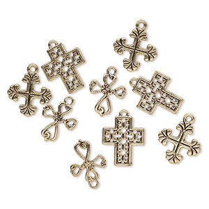 drop, antiqued gold-finished pewter (zinc-based alloy), 17x15mm / 18x18mm / 20x16mm cross. sold per pkg of 9.