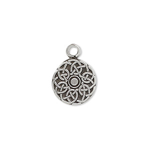 drop, antiqued pewter (tin-based alloy), 13mm flat round with celtic circle design. sold per pkg of 2.