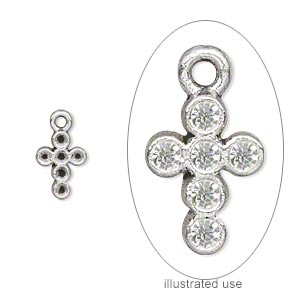 drop, antiqued silver-plated pewter (zinc-based alloy), 10x7mm single-side cross with (6) pp13 settings. sold per pkg of 50.