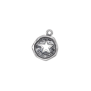 drop, antiqued sterling silver, 12-13mm single-sided irregular round with cutout star. sold individually.