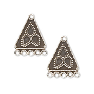 drop, antiqued sterling silver, 16x16x16mm triangle with bali design and 5 loops. sold per pkg of 2.