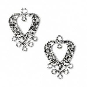 drop, antiqued sterling silver, 17x16mm double-sided open heart with filigree design and 6 additional loops. sold per pkg of 2.