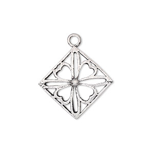 drop, antiqued sterling silver, 21x21mm diamond with clover. sold individually.