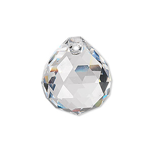 drop, asfour crystal, crystal, crystal clear, 23x20mm faceted round teardrop. sold individually.