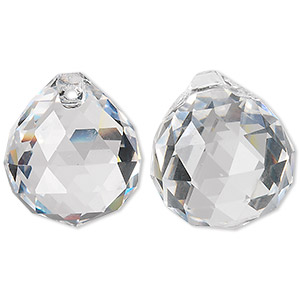 drop, asfour crystal, crystal, crystal clear, 23x20mm faceted round teardrop. sold per pkg of 65.