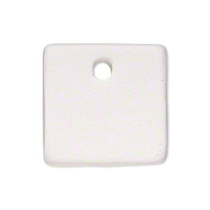 drop, bisque ceramic, white, 25x25mm top-drilled flat square. sold per pkg of 4.
