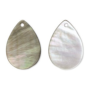 drop, black lip shell (natural), 25x18mm flat teardrop, mohs hardness 3-1/2. sold per pkg of 2.