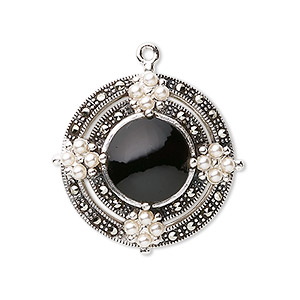 drop, black onyx (dyed) / marcasite (natural) / cultured freshwater pearl / sterling silver, 25mm fancy round. sold individually.