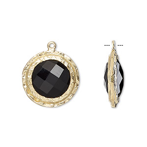 drop, black onyx (dyed) and gold-finished sterling silver, 17mm double-sided faceted round with hammered edge. sold individually.