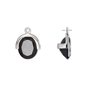 drop, black onyx (dyed) and sterling silver, 13x12.5mm single-sided faceted oval. sold individually.