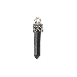 drop, black onyx (dyed) and sterling silver, 20x3mm-26x4mm hand-cut point. sold individually.
