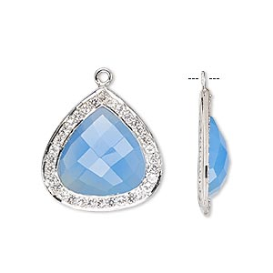 drop, blue chalcedony (dyed) / white topaz (natural) / sterling silver, 20x20mm single-sided faceted teardrop. sold individually.
