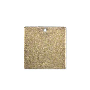 drop, brass, 20x20mm double-sided flat square blank. sold per pkg of 6.