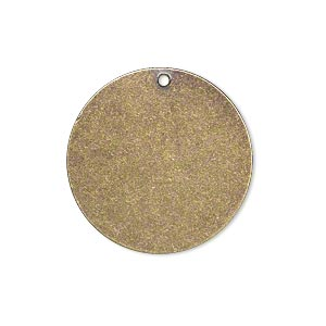 drop, brass, 25mm double-sided flat round blank. sold per pkg of 6.