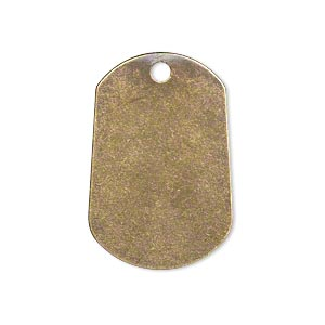drop, brass, 29x20mm double-sided flat dog tag. sold per pkg of 6.