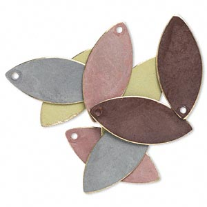 drop, brass, assorted earth tone patina, assorted pantone colors, 26x11mm double-sided marquise. sold per pkg of 8.