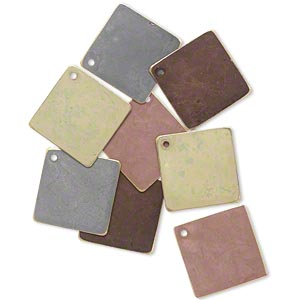 drop, brass, assorted earth tone patina, assorted pantone colors, 27x27mm double-sided diamond. sold per pkg of 8.