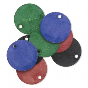drop, brass, assorted jewel tone patina, assorted pantone colors, 15mm double-sided flat round. sold per pkg of 8.
