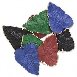 drop, brass, assorted jewel tone patina, assorted pantone colors, 26x20mm double-sided leaf. sold per pkg of 8.