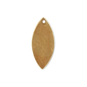 drop, brass, bright gold patina, pantone color 18-0935, 26x11mm double-sided marquise. sold per pkg of 6.