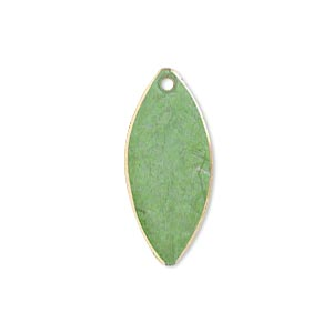 drop, brass, bright green patina, pantone color 17-0215, 26x11mm double-sided marquise. sold per pkg of 6.