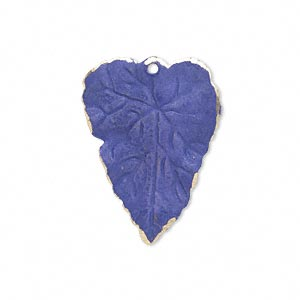 drop, brass, jewel tone blue patina, pantone color 18-3932, 26x20mm double-sided leaf. sold per pkg of 6.