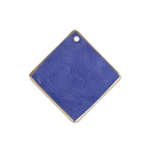 drop, brass, jewel tone blue patina, pantone color 18-3932, 27x27mm double-sided diamond. sold per pkg of 6.