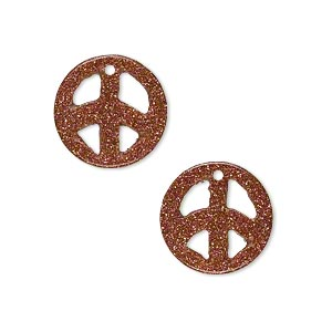 drop, brown goldstone (man-made), 15mm peace sign. sold per pkg of 2.
