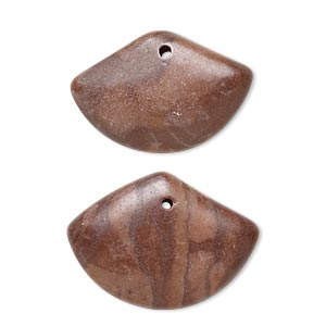 drop, brown zebra stone (natural), 23x17mm-26x19mm puffed fan with flat back, b- grade, mohs hardness 6-1/2 to 7. sold per pkg of 2.