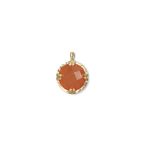 drop, carnelian (dyed / heated) and gold-finished sterling silver, 10mm double-sided faceted round. sold individually.