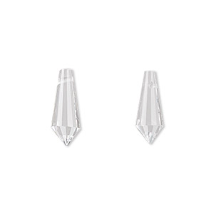 drop, celestial crystal, clear, 15x6mm faceted point. sold per pkg of 8.
