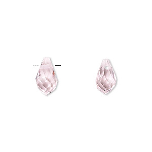 drop, celestial crystal, pink, 11x6mm faceted teardrop. sold per pkg of 6.